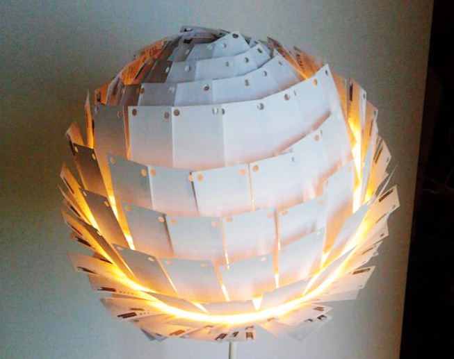 Recycled last light lamp is made from 350 outdated business cards design colourmoves
