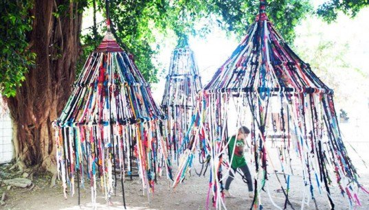 the tent, tali bucher, israeli art, art israel, knit art, knitting art, crochet art, eco art, community art projects group art