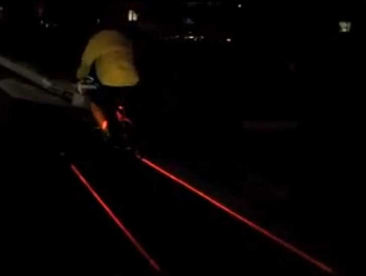 The Xfire Safety Light Creates A Laser Generated Bike Lane