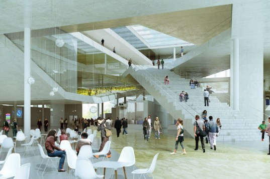 École Centrale School of Engineering, OMA, eco university, glass roof, superblock, france, daylighting
