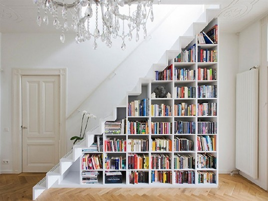 White Bookshelf Staircase, staircase, stairs, sustainable design, green design, green building, green architecture, sustainable architecture, eco stairs, stair porn, innovative staircases, imaginative staircases, multifunctional staircases, recycled staircase