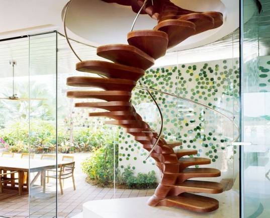 Wood Spiral Staircase, Patrick Jouin, staircase, stairs, sustainable design, green design, green building, green architecture, sustainable architecture, eco stairs, stair porn, innovative staircases, imaginative staircases, multifunctional staircases, recycled staircase