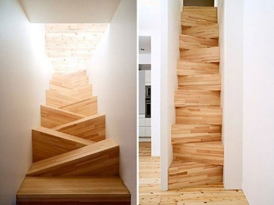 Jagged Wooden Staircase, staircase, stairs, sustainable design, green design, green building, green architecture, sustainable architecture, eco stairs, stair porn, innovative staircases, imaginative staircases, multifunctional staircases, recycled staircase