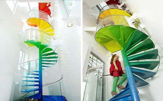 Rainbow Spiral Staircase, AB Rogers, DA Studio, staircase, stairs, sustainable design, green design, green building, green architecture, sustainable architecture, eco stairs, stair porn, innovative staircases, imaginative staircases, multifunctional staircases, recycled staircase