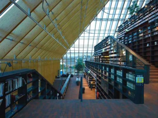 Book Mountain, eco Library, MVRDV, library quarter, spijkenisse, the netherlands, book mountain library, daylighting