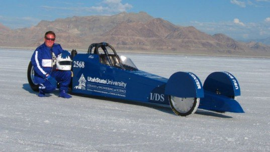 Aggie A-Salt Streamliner, biofuel, cheese fuel, yeast, dragster, speed record, Utah Salt Flats, world of speed, green vehicle, utah state university, speed record,