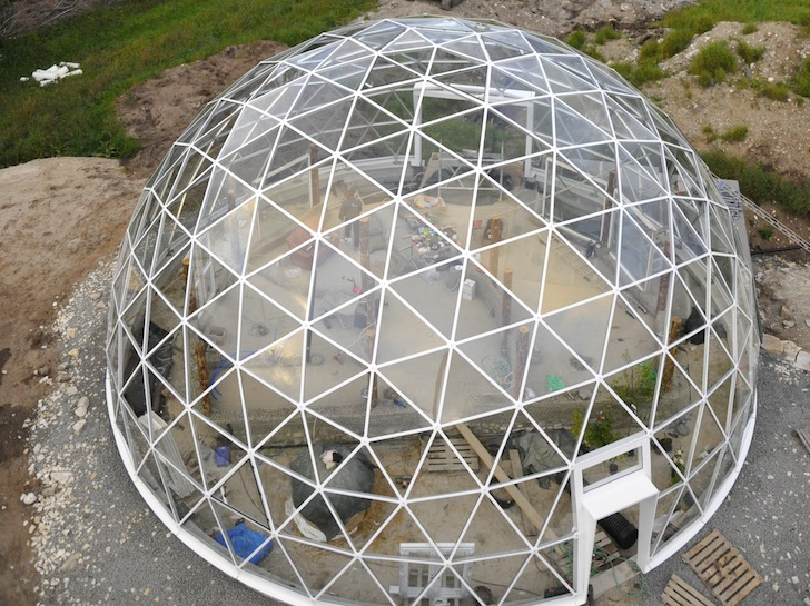 Solar Geodesic DomeCovered Cob House Rises in the Far Reaches of