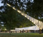 Boston's Glowing ENfold Pavilion is a Made from Reusable Garden Bed Liner Fabric