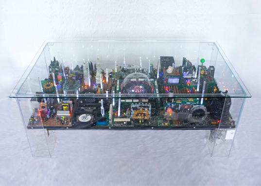 Electri-City Coffee Table, Benjamin Yates, recycled materials, recyclable design, green design, electronic waste, interactive furniture, acrylic tables, sustainable design