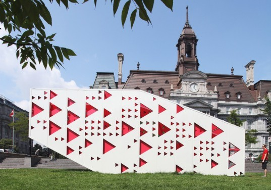 green design, eco design, sustainable design, PLux.5, Quebec, Old Montreal, City Hall of Montreal, Tisse Metis Egal, pop up pavilion, Reford Gardens