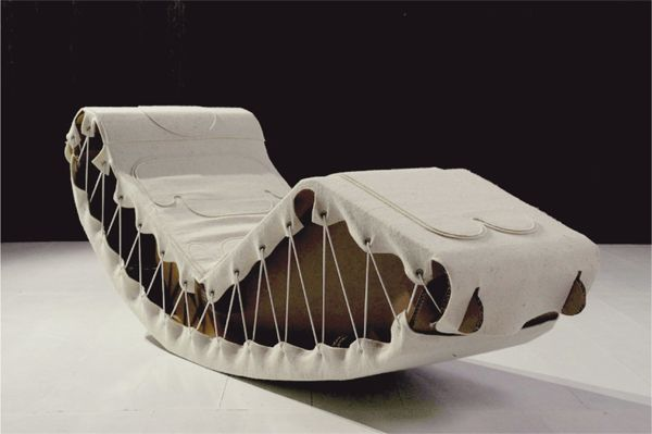 futuristic rocking chairs piquattropuntos cardboard pause rocking chair is completely