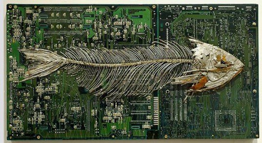 green design, eco design, sustainable design, Peter McFarlane, recycled circuit boards, circuit board fossils, circuit board art, recycle art, eco art, recycled materials