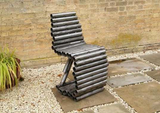 Recycled Tube Chair, tube chair, Ashley Baldwin-Smith, Ashwin Studio, recycled metal tubes