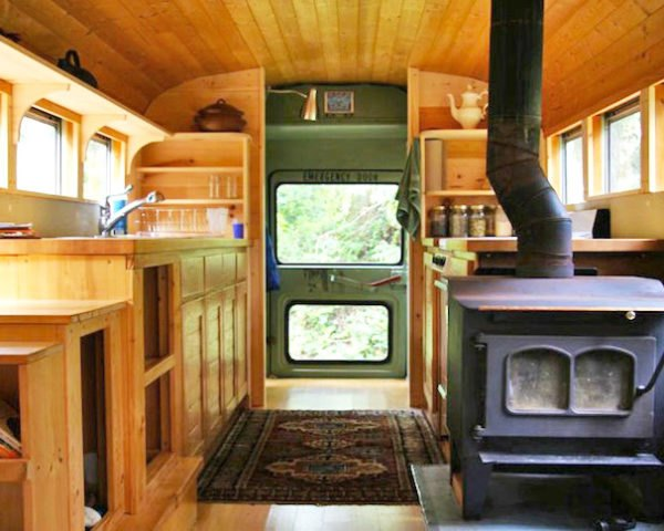 school bus conversion, architecture, green renovation, green design, sustainable design, eco-design, bus, wpi Creative, Cascades, USA, wood-fired stove, natural ventilation, mobile home