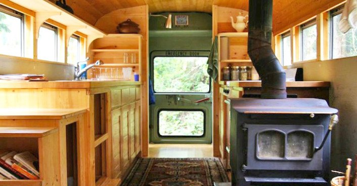 Clunky Old School Bus Is Converted Into A Sweet Earthy