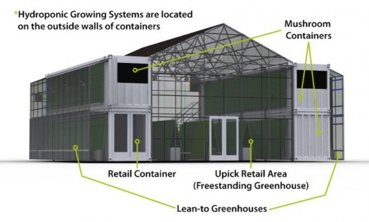 The Farmery, Raleigh, mushrooms, hydroponic growing systems, modular growing system, urban farming, farmer's market, recycled materials, shipping container, green design, sustainable design, eco-design