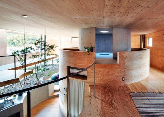 Pit House Okayama, UID Architects, Japan architecture, floating houses, underground homes, cedar clad houses, sustainable architecture, green home