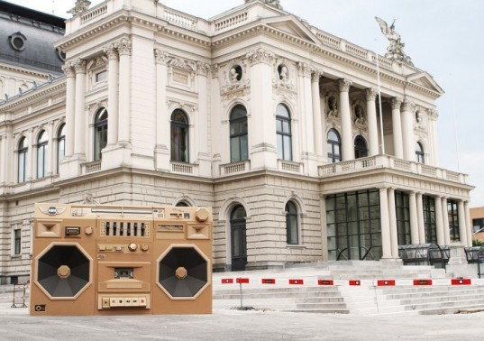 bartek elsner, mini cooper, international radio festival, zurich, ghetto blaster, boom box, cardboard