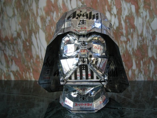 macaon, sculpture, can craft, aluminum can, beer, soda, darth vader, helmet