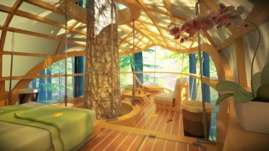 farrow partnership, treehouse vacation, eco resort, treehouse design, e'terra samara, ontario canada, bruce peninsula, unesco world biosphere reserve