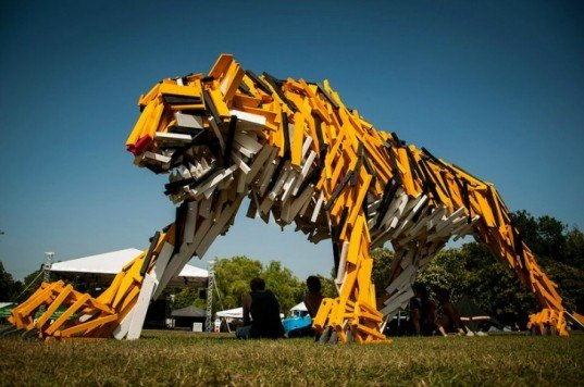 hello wood, timber tiger, reclaimed timber installation, salvaged wood art, sustainable design, green art