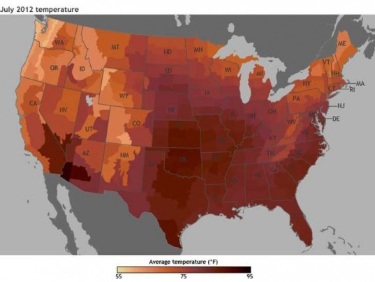map, noaa, temperature, july 2012, hottest, month, ever, global warming, climate change, extreme weather