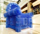 Giant Armchair Constructed From 2,500 Salvaged Plastic Bottles by Várnai Gyula