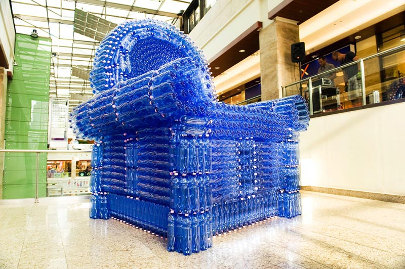 Giant Armchair Constructed From 2 500 Salvaged Plastic