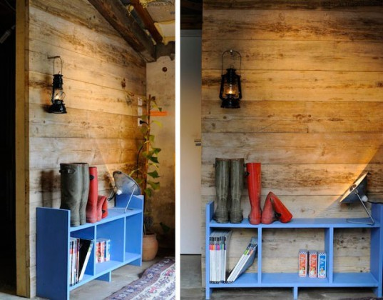 DIY recycled scaffolding, timber wall, reclaimed wood, James Higginson