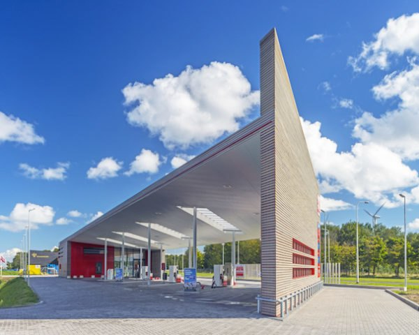 biofuel, gas station, Knevel Architecture, Avia Marees, timber, prefabricated design, small carbon footprint, green design, climate neutral design, Dutch gas station, Den Oever, ABT, sustainable gas station, flax insulation