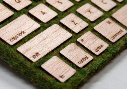 natural keyboard, robbie tilton, nyu, wood, moss, apple, wireless