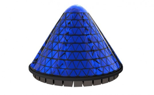 v3 solar, solar cones, solar efficiency, photovoltaic cones, unusual solar configuration, solar panels, spinning solar