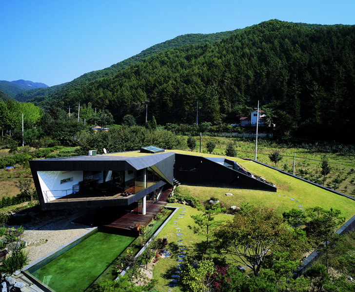 Cedar Clad Green Roofed Villa Topoject Emerges From The Hills Near