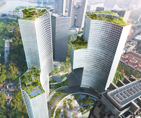 Green Plans | Buro Ole Scheeren Unveils Plans For Green Roofed Duo Towers In