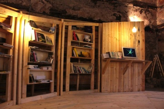 |CON|Temporary Library Installation, Studio 8 ½, turkish bath, center for contemporary art, plovdiv, bulgarian, hammam, temporary design, art, architecture, timber, sustainable design, eco-design, art library,