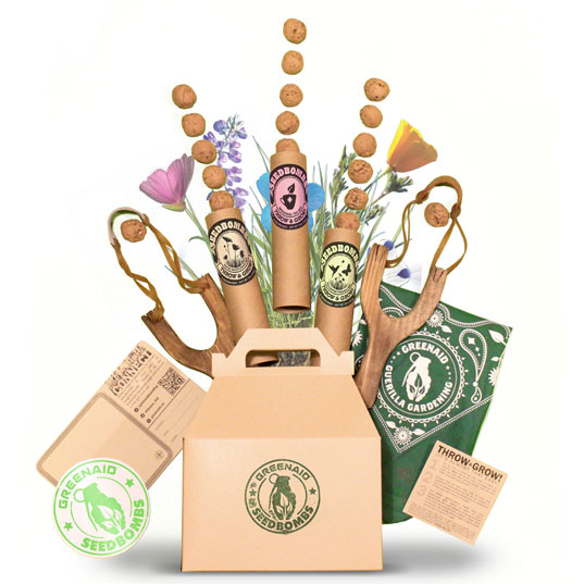 guerilla gardening gift boxes, guerrilla gardening, gift boxes, green thumb gifts, gifts for gardeners, seed bombs