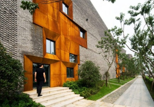 Boston, Höweler + Yoon Architecture, Chengdu, China, courtyard, culture, clubhouse, ventilation, thermal mass, energy efficient, local materials, brick, Cor-Ten steel