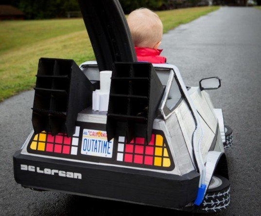 tiny marty mcfly and his delorean push car stroller