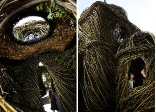 Patrick Dougherty, Ballroom, Willow Nest, Melbourne, Federation Square, St. Paul's Cathedral, public art, environmental art, invasive species, willow, Australia, green design, green art, sustainable design, eco-design, eco-art,