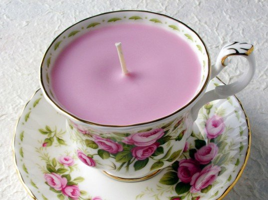 DIY teacup candle, tea cup candle, Pink teacup candle