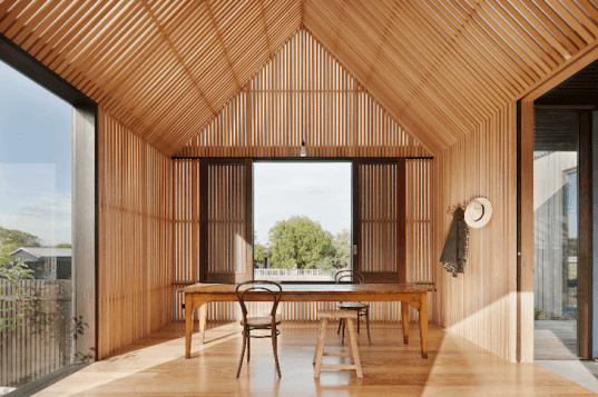 Dunescape, surf shack, Seaview House, Australia, Victoria, Jackson Clements Burrows, timber homes, daylighting, solar gain, in-floor hydronic heating, passive design, sustainable design, eco-design