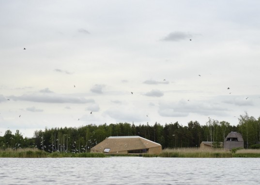 Takern Visitor Centre, Wingardhs, nesting roof, bird watching, sustainable design, green architecture, thatched roof, swedish design, green roof
