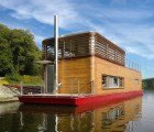 SayBoat is a Minimalist Floating Home Clad With Sustainable Beech Wood in the Czech Republic