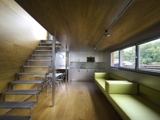 SayBoat, Milan Řídký, Czech Republic, floating houses, LED lighting, minimalist design, house boat, boat house, beech wood, sustainable beech, daylighting, floor heating, fireplace, loft, sustainable design, green design, eco-design