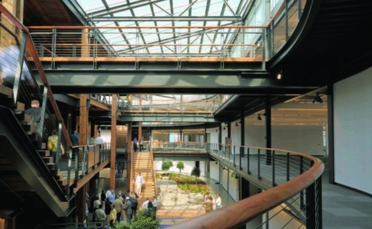 US Army Corp of Engineers, USACE Seattle headquarters, ZGF Architects, Sellen Construction, LEED Gold rating, green building technology, geothermal energy, integrated mechanical systems, rainwater harvesting, Energy Star Score, Federal Center South Building, phase-change thermal storage tank, reusing thermal energy, daylighting, 100 percent outside air, underfloor ventilation, heat recovery system, permeable surfaces, green stormwater managerment, urban heat island effect, reclaimed materials, rainwater cistern, 2009 American Recovery and Reinvestment Act, GSA