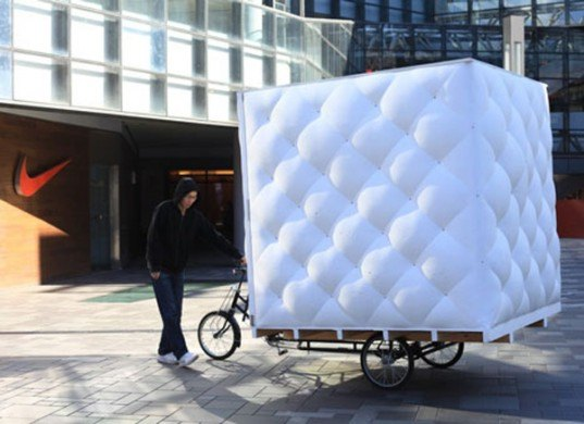 bao house, dot architects, get it louder 2012, bubble, spf, spray polyeurethane, pedal powered, tricycle