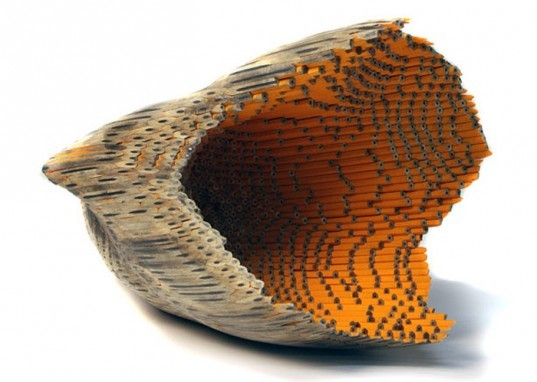 pencil, sculpture, jessica drenk. graphite, wood, organic, natural form, implement