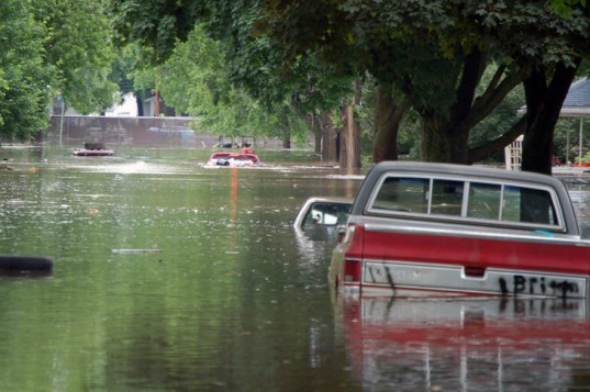 flooded street, pickup truck, flooding, floodwaters