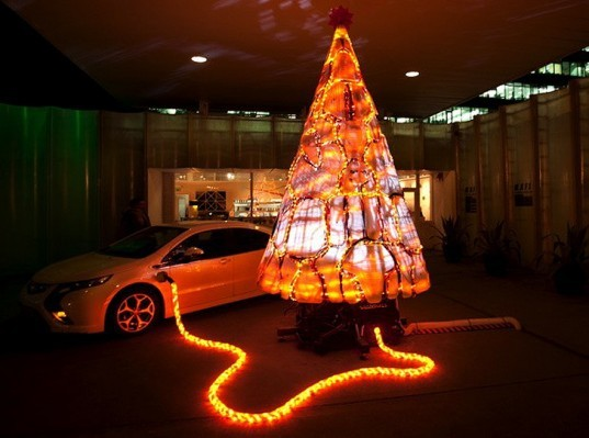 green design, eco design, sustainable design, Gary Card, Kings Cross FIlling Station, Upcycled christmas tree, Vauxhall, Vauxhall Ampera, electric car christmas tree