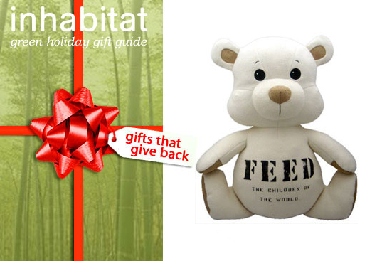 feed, feed teddy bear, voltaic, voltaic solar charger kit, spiral foundation, recycled silver bowl, altruette, house charm, csa membership, product red, toms, toms sunglasses, sponsor a paw, miir, miir bikes, charity wines, vik muniz, glassbaby, green holiday, green gift guid